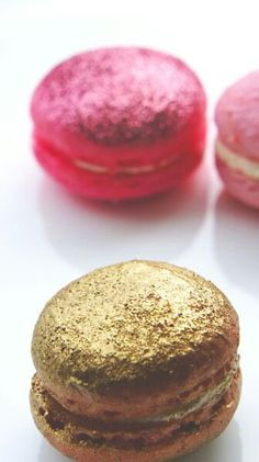 Glitter macaroons. Pink and gold.