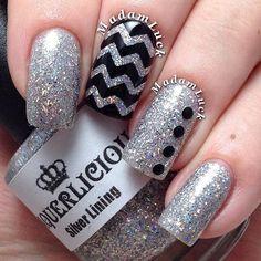 Black And Silver Glitter Accent Chevron Nail Art