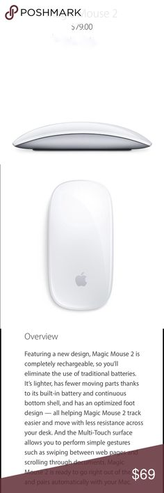 Apple Magic Mouse 2. Brand New in box! Apple Magic Mouse 2. Brand New in box with plastic wrap. Wireless Bluetooth mouse for apple computers. Tech Specs on product listed above. No trades . No haggling. This is already an amazing deal. #apple #magicmouse2 #technology #mac apple Other