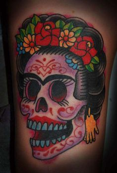I have always wanted a Frida sugar skull tat. Don't care for the save but love the hair/flowers.