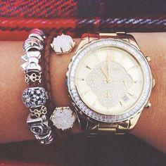 Michael Kors watch, Kendra Scott bracelet, pandora bracelet. The perfect arm candy combo!