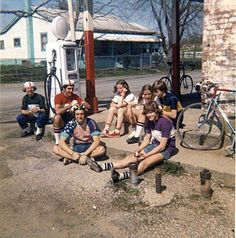 My original cycling group, April in front of an old general store in North Royalton, Ohio (Southern Ohio). I'm seated, second from the left. Check out the gas pump! North Royalton, Gas Pumps, General Store, Bicycles, Ohio, Cycling, Southern, Street View, Group