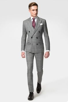 Hackett Grey Windowpane Suit Perfect for the man on the go, this stylish grey windowpane check double breasted suit is the perfect occasion suit. Woven in Italy from the finest wool, expect a truly luxurious feel and suit that is sure to become a firm favourite.