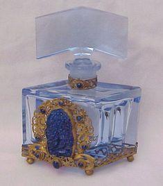 Beautiful Faux Lapis Jeweled Czech Perfume Bottle - Circa 1930