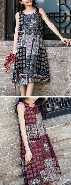 US$17.96 Ethnic Printed Sleeveless Vintage Women Dresses