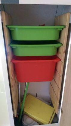 Brown stripe boler closet storage.