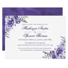 Purple Floral Watercolor Classy Violet Wedding Card - elegant wedding gifts diy accessories ideas #elegantformalweddinginvitationsclassy