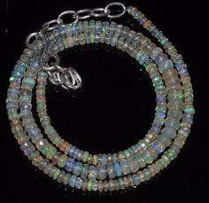 """28 Crts 2 to 5 mm 15"""" Faceted Beads necklace Ethiopian Welo Fire Opal RR158"""