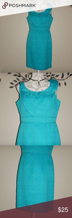 """Another Thyme Teal Sheath Dress Another Thyme Womens Teal Sleeveless Ruffle Neckline Sheath Dress Size 10 Chest: 19"""" flat  Length: 36"""" Back zipper closure Another Thyme Dresses"""