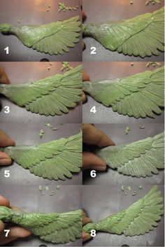 How to sculpt wing and feathers step-by-step by ~edsa-m on deviantART Comment sculpter aile et plume Polymer Clay Projects, Polymer Clay Creations, Polymer Clay Art, Polymer Clay Jewelry, Diy Fimo, Diy Clay, Sculpting Tutorials, Clay Tutorials, Clay Dragon
