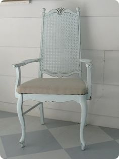 A simple chair redo - paint the frame and recover the seat with a simple drop cloth