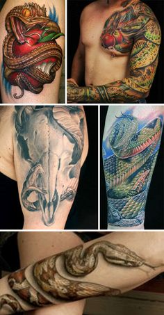 Snakes are gorgeous and deadly… frightening to most, but beautiful to some. These natural hunters are classic when used to adorn one's body. Throw in an apple and the tattoo even has biblical significance!