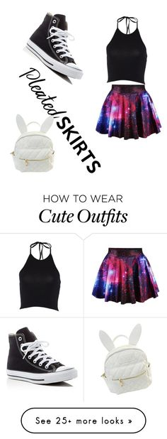 """""""school outfit. pleated skirt challenge"""" by kittycatsloveyou on Polyvore featuring Converse, cutekawaii and pleatedskirts"""