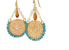 Dangle Gold Swing Earrings with London Blue #jewelry #earrings #dangle @EtsyMktgTool http://etsy.me/2i7IYSZ