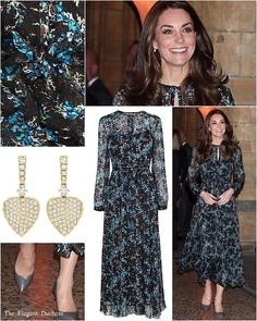 Yesterday evening, Kate made a visit to the Natural History Museum in London where she was joined at the tea party by twenty children from Oakington Manor Primary School in London. The children were brought to the Museum by Kate's patronage @_place2be was quite fitting as the Duchess would attend the Place2Be Awards at Mansion House later that evening.  Kate debuted an elegant new dress by one of her favourite brands, @lkbennettlondon. 'The £375 Cersei Dress is crafted from a luxe chiffon…