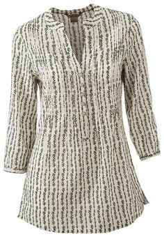 Natural Reflections Printed Pintuck Henley for Ladies | Bass Pro Shops