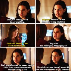 """""""I met your doppelganger! She's a coldhearted ice queen named Killer Frost, a metahuman who enjoyed killing, a lot!"""" - Cisco and Caitlin #TheFlash"""