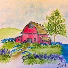 Art Impressions Blog: Old Barn Watercolor Old Barn Mini Set (Sku #4807) ... handmade water color card.