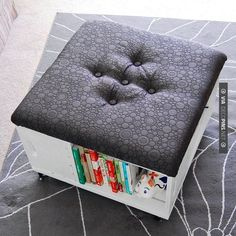 Like this - DIY Storage Solutions Ideas: Rolling Ottoman With Side Storage ~  Ideas Inspiration | CHECK OUT MORE DIY COFFEE TABLE IDEAS AT DECOPINS.COM | #diy coffee table #coffeetable #diy #diycoffeetable #enginecoffeetable #palettecoffeetable #winecratecoffeetable #table #tables #homedecor #homedecoration #decor #livingroom