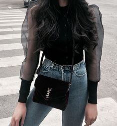 Women sexy stylish solid black blouse long puff sleeve stretchy transparent O ne Fashion Outfits, Womens Fashion, Fashion Tips, Fashion Trends, Style Blogger, Summer Outfits, Cute Outfits, All Black Outfit, Lookbook