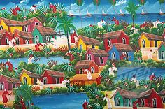 Photograph-Naive Haitian painting, Colonial Zone, Santo Domingo, Dominican Republic-Photograph printed in the USA Artwork Prints, Poster Size Prints, Framed Prints, Canvas Prints, Barbados, Zona Colonial, America Images, Caribbean Art, Photo Mug