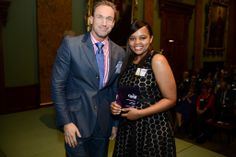 Dr Christian Jessen and Aisha Gaido, our winner in the Community Award Category