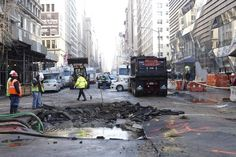 The water main break caved in a section of Fifth Avenue at 13th Street (NYC). The source of the problem was a section of 36-inch cast iron pipe dating back to 1877, said a spokesman for the city Department of Environmental Protection.