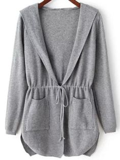 SheIn offers Grey Hooded Long Sleeve Pockets Cardigan & more to fit your fashionable needs.Product name: Hooded Drawstring Waist Cardigan at SHEIN, Category: SweatersUnadorned Queen of England informal Acrylic Cardigan weaken Hooded farsighted arm P Hijab Fashion, Fashion Dresses, Women's Fashion, Mode Kimono, Casual Hijab Outfit, Vetement Fashion, Hoodie Pattern, Sweater Coats, Fashion Sewing