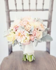 gorgeous bouquet: cafe au lait dinner-plate dahlias, garden roses, parrot tulips, dusty miller by marcella