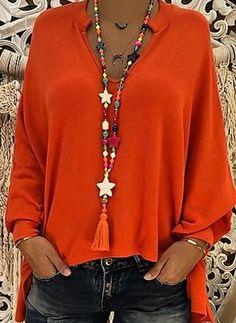 Compre Plus Size Blusas, Venda, Loja Online de Plus Size Blusas de Moda Feminina - Floryday Blouse Orange, Batwing Sleeve, Long Sleeve, Short Sleeves, V Neck Blouse, Plus Size Blouses, Look Fashion, Fall Fashion, Feminine Fashion