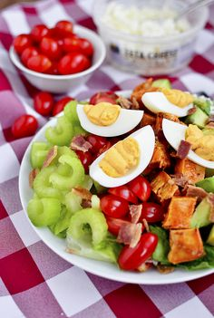 Buffalo Chicken Cobb Salad with Buffalo Deviled Eggs is an addicting mix of spicy, bold, and zesty flavors.