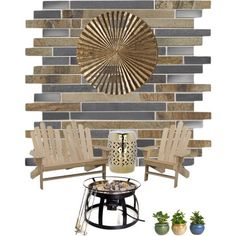 """DutchCrafters' Polyvore fan water-iii cerated a modern outdoor retreat with our Poplar Adirondack chair & bench - The mixed materials (wood, metal) are """"reflective"""" of the industrial style! :-)"""
