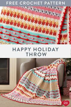 Happy Holiday Throw free crochet pattern in Super Saver yarn. This crochet throw combines corchet clusters and other intricate stitch patterns for a finished look that pops in a variety of colors. Make yours in bold hues to choose your holiday favorites f Crochet Throw Pattern, Easy Knitting Patterns, Afghan Crochet Patterns, Baby Blanket Crochet, Crochet Stitches, Stitch Patterns, Crochet Blankets, Crochet Afghans, Diy Blankets