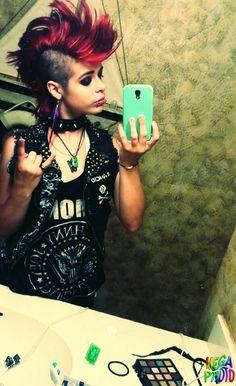 Crust punk vest and mohawk
