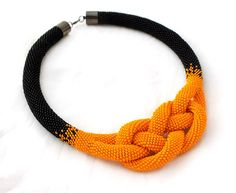 +Beads+crochet+rope+necklace+a+black+and+orange+from+RebekeJewelry+by+DaWanda.com