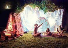 Make tents with sheet and camp outside with my bestfriends!
