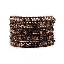 Smokey Mix Swarovski Crystal Wrap Bracelet on Tamba Leather