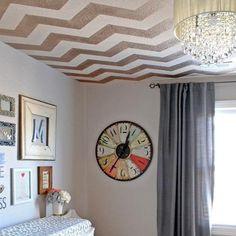 Chevron stencil on ceiling  www.cuttingedgestencils.com