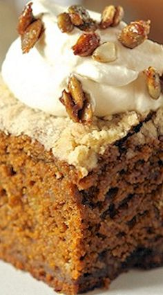 Pumpkin Gingerbread ~ A dark and spicy gingerbread, made moist by the addition of pumpkin puree. Perfect with maple-sweetened whipped cream.