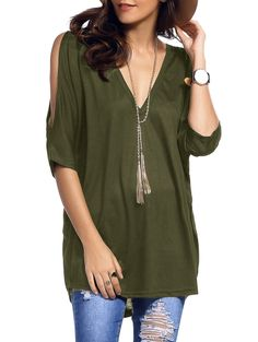 Cold Shoulder Batwing T-Shirt - ARMY GREEN M Mobile