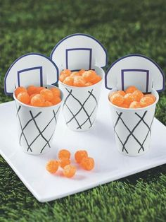 Sports theme party Basketball snack cups /a> Basketball Party, Basketball Birthday Themes, Ball Theme Birthday, Ball Theme Party, Basketball Cupcakes, Boy 16th Birthday, Sports Themed Birthday Party, Sports Party, Kids Sports Crafts