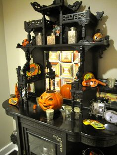 Decoration Cool Black Cabinet With Halloween Pumpkins On It Of Astonishing Focusing On Pumpkin Rotting Decor Tall, Pigura Frame Also Oval Mi...