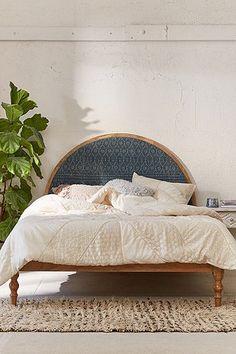 Original Vintage Rattan Bett-Kopfteil \