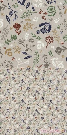 grey cotton sheeting fabric with flowers, leaves, in dark blue, white, green, brown etc., Material: 100% cotton, Fabric Type: smooth cotton printed sheeting fabric #Cotton #Flower #Leaf #Plants #JapaneseFabrics