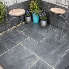 Blue Black Slate has natural rich dark tones and natural riven finish surface which makes it a very popular choice for any garden. Slate Pavers, Slate Patio, Paving Slabs, Backyard Garden Design, Backyard Patio, Paving Stones Direct, Outdoor Paving, Dark Shades, Light In The Dark