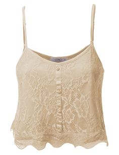 LE3NO Womens Lightweight Loose Floral Lace Crop Top Cami