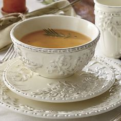 Falling Leaves Dinnerware | An embossed pattern of leaves and acorns makes this dinnerware a tasteful addition to both formal and casual tables. http://www.countrydoor.com/Falling-Leaves-Dinnerware.pro?omSource=SLI