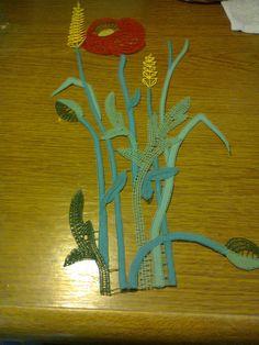 Poppy and grain ears Idrija lace (Slovenia) in colors