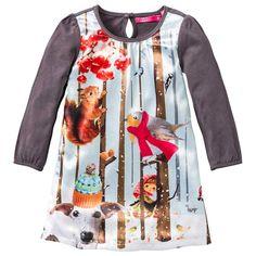 Mooi jersey jurkje van Cakewalk (model Shana) in antraciet. De voorkant is voorzien van een extra laag glanzende stof met een gezellige winterse print.