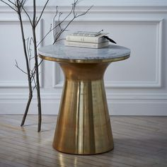Marble Topped Pedestal Coffee Table, Marble/Antique Brass At West Elm - Coffee Tables - Accent Table Marble Top Side Table, White Side Tables, End Tables, Table Bases, Modern Console Tables, Modern Side Table, New Furniture, Table Furniture, Furniture Design
